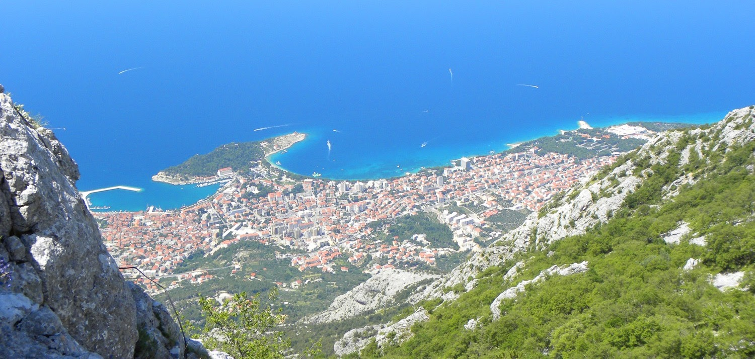 View of Makarska from mountain Biokovo