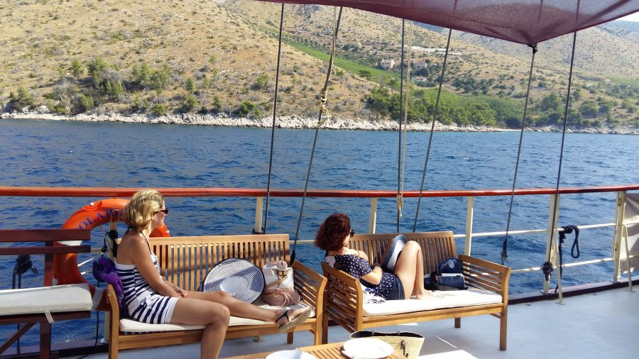 Guests relaxing on the second deck