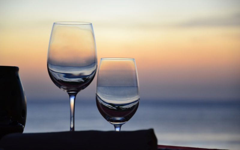 Romantic dinner with sunset