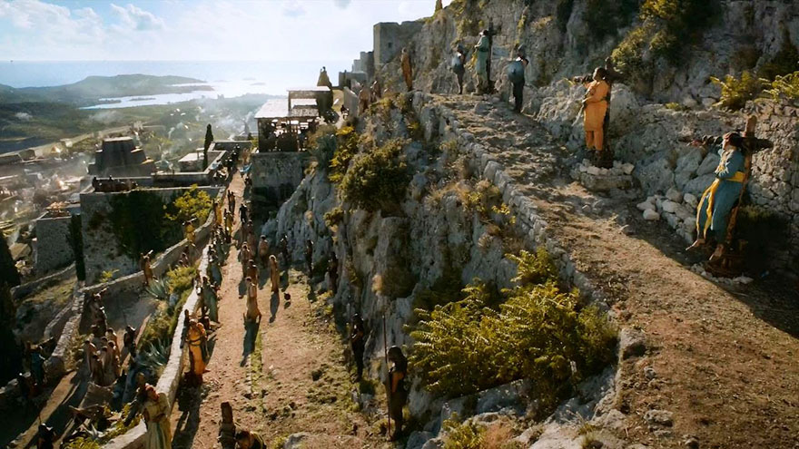 Scene from Klis fortress with minimum CGI in the background