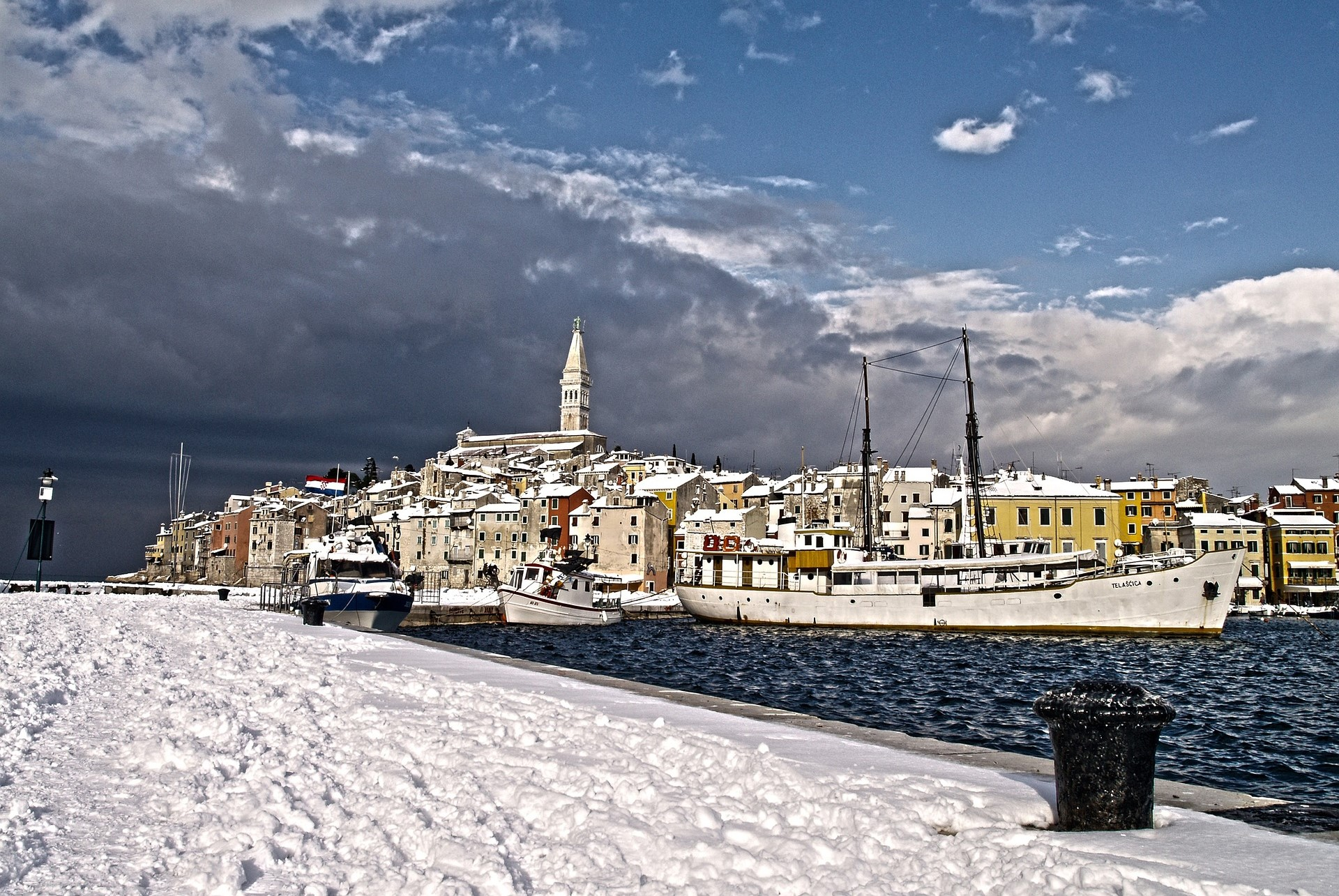 Snow on the Croatian coast